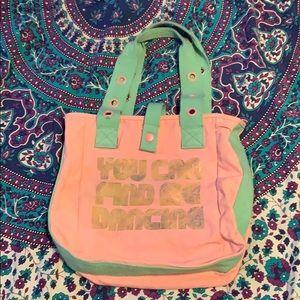 VINTAGE Pink/Mint Green Retro 70s Style Dance Bag